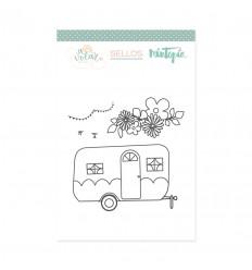 Sello Caravana con flores (3 unidades)